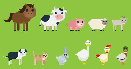 Set of cute farms designed with very geometric and rounded shapes for kids. Animals included: horse, cow, pig, sheep, goat, dog, cat, rabbit, goose, rooster and duck. 向量圖像