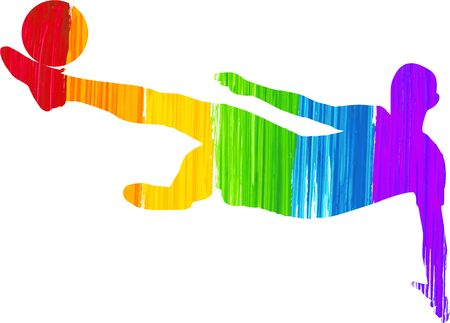 Silhouette of a man kicking a soccer ball while jumping, he's painted with a brush effect using the rainbow colours.