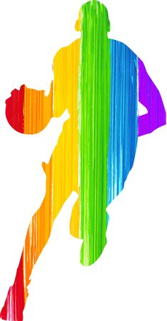 Silhouette of a man bouncing a basket ball while running, he's painted with a brush effect using the rainbow colours.