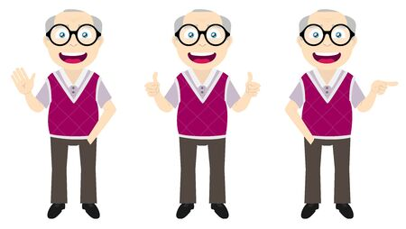 Set of a happy old man in three different poses: waving, thumbs up and pointing out.