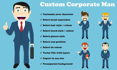 From the smiling corporate man to the upset one, you can customise your character to the specific style and expression you need. 
