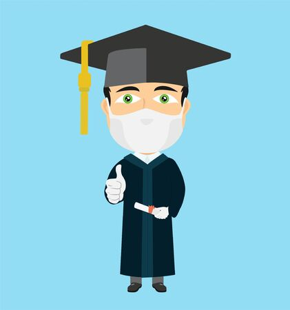 Confused graduate with mask white gloves thumb up hat diploma in his hand green eyes