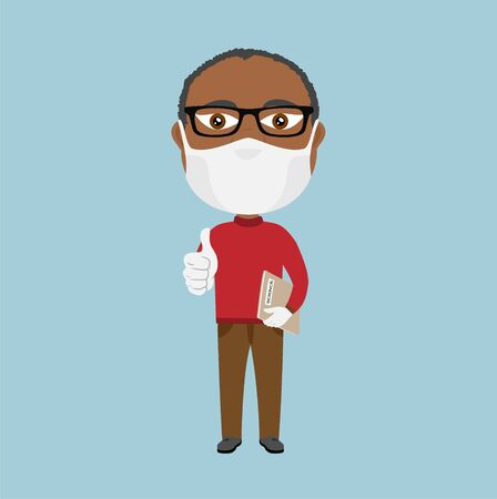 Black dark skin Afro African Old school professor teacher with mask and white gloves thumbs up and grey science book brown pants and red jumper beard glasses  イラスト・ベクター素材
