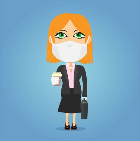 Caucasian Blonde businesswoman holding a coffee cup and a suitcase with antivirus mask and white gloves. She wears a dark suit with a tie in front of a blue background. 일러스트