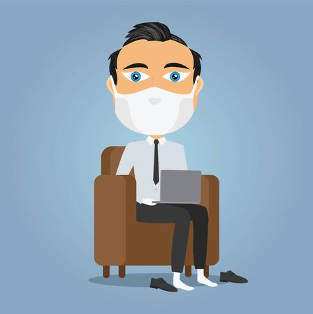 Caucasian businessman working from home on his sofa with laptop mask and white gloves during virus lockdown with shoes off.