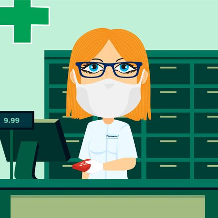 Caucasian blonde female pharmacist behind counter with protective mask white glove cash register and medication. Ilustrace