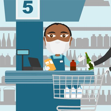 Supermarket cash register male black with protective mask and white gloves scanning products with client and shopping cart.
