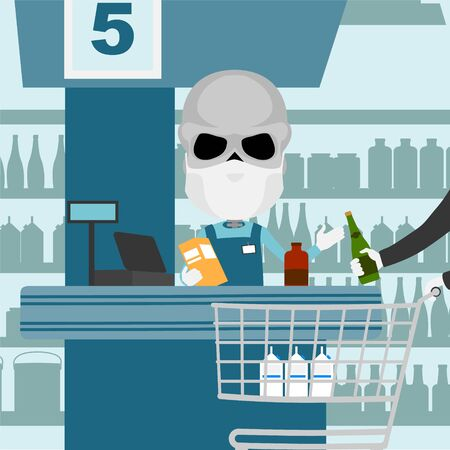 Supermarket cash register male skeleton with protective mask and white gloves scanning products with client and shopping cart. Иллюстрация