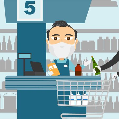Supermarket cash register male caucasian with protective mask and white gloves scanning products with client and shopping cart.