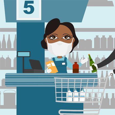 Supermarket cash register female black with protective mask and white gloves scanning products with client and shopping cart.