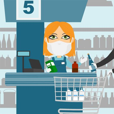 Supermarket cash register female caucasian blonde with protective mask and white gloves scanning products with client and shopping cart. Иллюстрация
