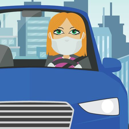 Driving car female white blonde with mask white gloves holding steering wheel in blue car with city in the background. Illustration