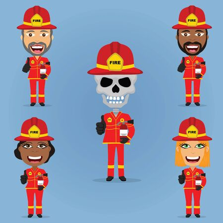 Set firefighter smiling holding extinguisher black and white males and females skeleton with helmet and gloves.