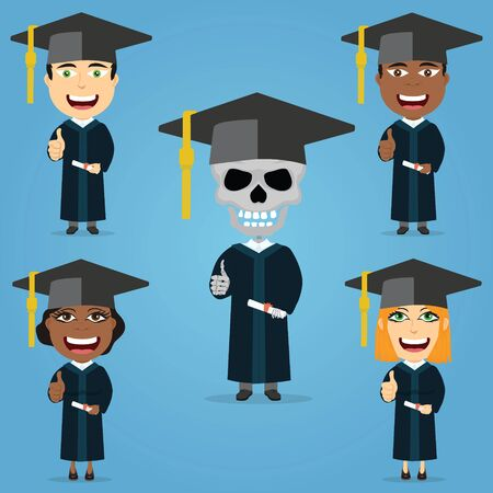 Set graduate student smiling holding diploma thumbs up black and white males and females skeleton with hat and suit.