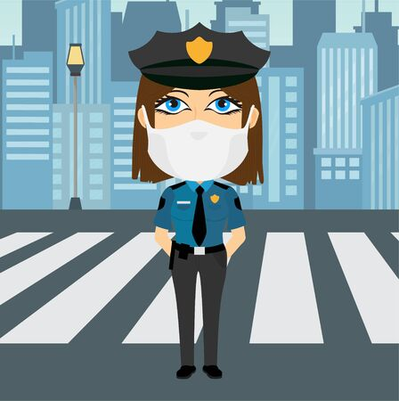 Police officer female caucasian blue eyed with virus mask hands behind the back with blue shirt yellow badge black pants and hat. She's got a baton attached to her belt and wears a tie and stands next to the crossing with the city background.