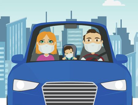 Driving car family male female baby caucasian with mask white gloves holding steering wheel in blue car with city in the background