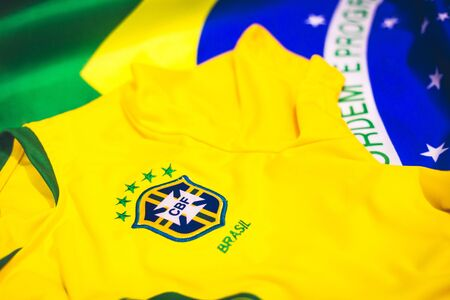 Sao Paulo / Sao Paulo / Brazil - 06/16/2018 15:03:17 +0000 - This picture is made by the brazilian soccer shirt and the brazilian flag. Also, represent one of the strongest thing that Brazil has, soccer.