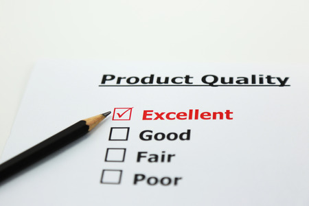 excellent: Excellent evaluation. with Excellent checked of product Stock Photo