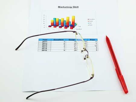 correlate: a paper of analyse marketing, pen and spectacles