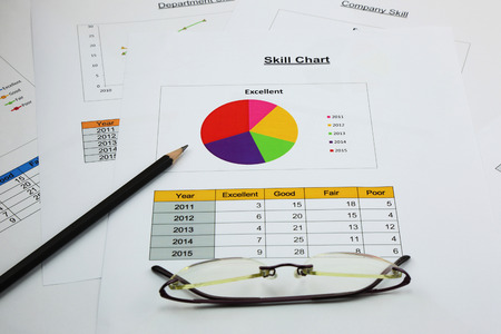 correlate: pie chart of skill in your business, black pencil and spectacles Stock Photo