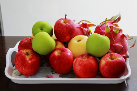 cater: fruit in a tray on wood table