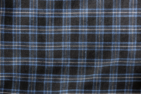 checked fabric: close up of black-gray-blue checked fabric