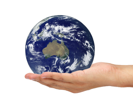 social issue: hand holding Earth isolated on white background. Elements of this image furnished by NASA Stock Photo