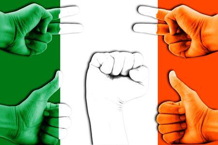 bandera de irlanda: manos en Irlanda del fondo de la bandera