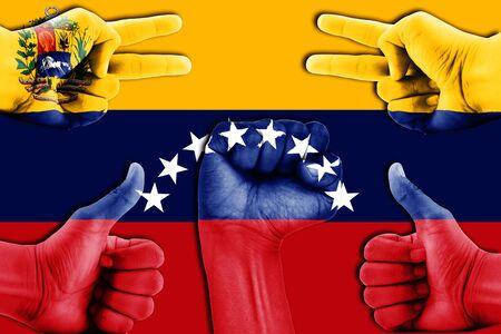 bandera de venezuela: manos en Venezuela fondo de la bandera