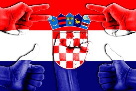 bandera croacia: manos en Croacia fondo de la bandera