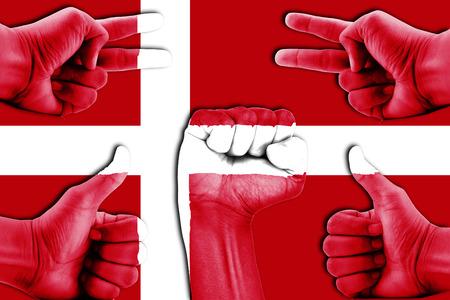 denmark flag: hands on Denmark flag background
