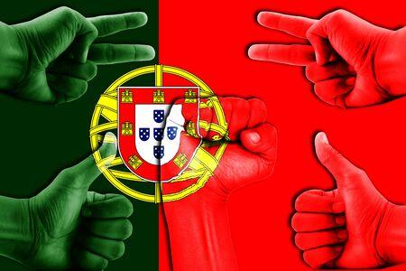 drapeau portugal: hands on Portugal flag background Banque d'images