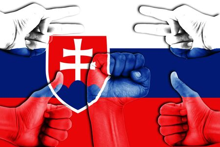 slovakia flag: hands on Slovakia flag background Stock Photo