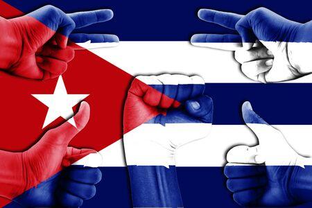 cuba flag: hands on Cuba flag background