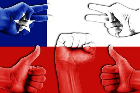 bandera de chile: manos en Chile fondo de la bandera
