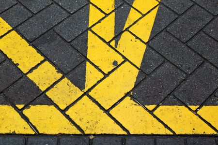 new rules: The yellow line on the road Stock Photo