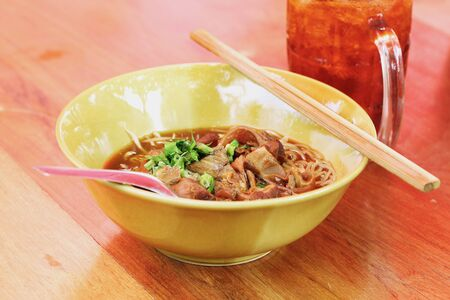 toon: Noodles with pork with soup Thai style. Thai peoples call braised pork Noodles or Moo toon