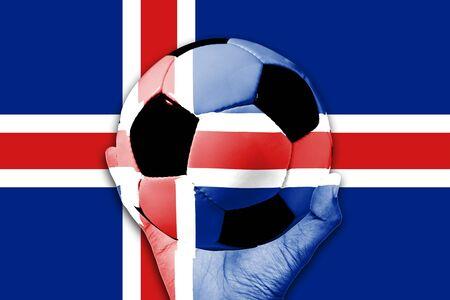 flag of iceland: Manejar la bola en el fondo de la bandera de Islandia