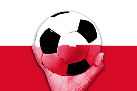poland flag: Handle Ball on Poland flag background