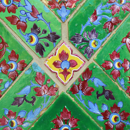 opulence: Art of tile is beautiful in Thai temple, colorful