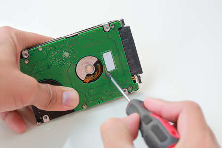 Man hand with screwdriver fixing or repairing the hard drive