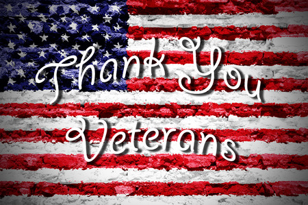 ports: thank you veterans card american flag background
