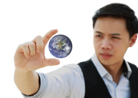 see the usa: businessman hand  holding and see the future earth concept isolated on white background - Elements of this image furnished by NASA Stock Photo