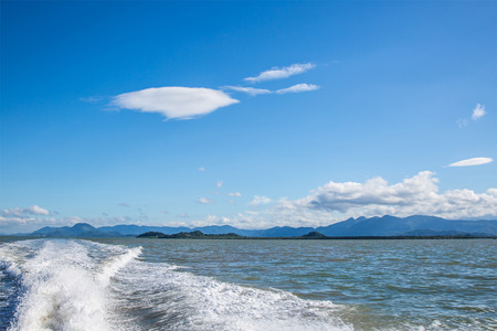 astern: view of sea, blue sky and coulds Stock Photo