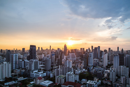 aerial view city: view of Sunset over city scape