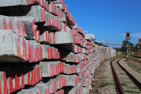 cement pole: New cement pole use for build Pole rail transportation under blue sky.