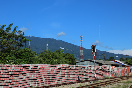 cement pole: New cement pole use for build Pole rail under blue sky.