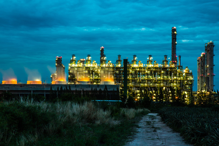oil and gas industry: Oil and gas refinery industry plant in the twilight time. Stock Photo