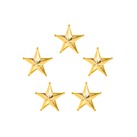 Five Golden Christmas Star isolated on white Background.