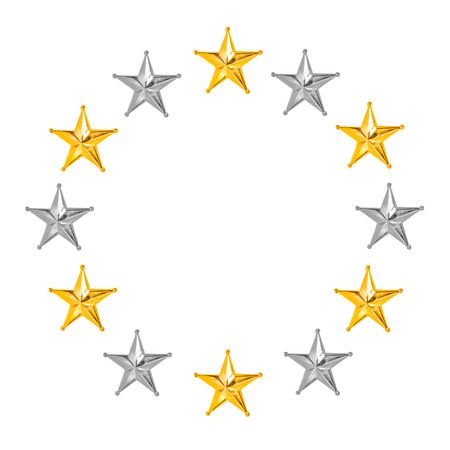 silver circle: All star golden and silver circle Christmas Star isolated on white Background.
